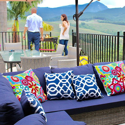 A spacious patio at Granny Dot's Guesthouse and Country Spot allows guests the opportunity to take in the spectacular views and fresh mountain air